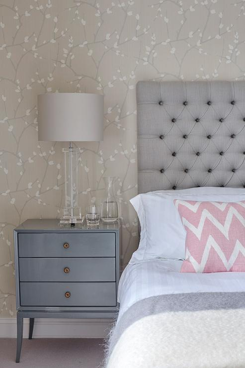Gray pink bedroom : Gray and blue bedroom with pink accents transitional