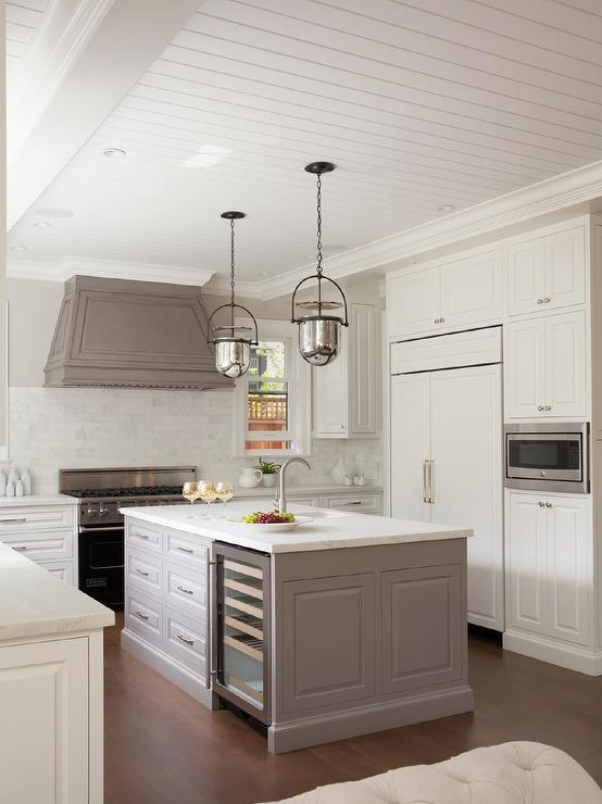 Charmant Gray Paneled Kitchen Hood With Mercury Glass Bell Pendants