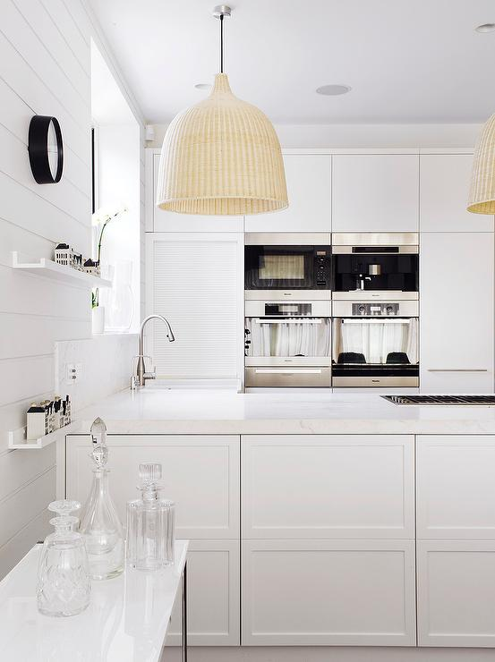 White Modern Kitchen With Ikea Light Pendants Modern