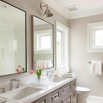 White Dual Washstand Master Bathroom Wall Sconce Design Ideas - Double wall sconce bathroom