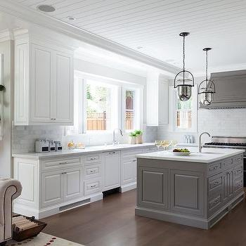 Dark gray painted kitchen tray ceiling lined with mercury for Kitchen designs grey and white
