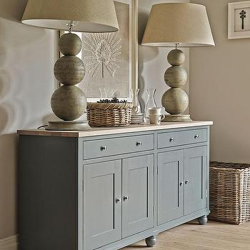 Gray Buffet Cabinet With Butcher Block Top