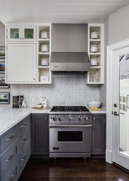 White Upper Cabinets With Distressed Gray Lower Cabinets Contemporary Kitchen