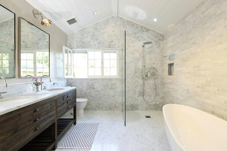 Open shower with marble quatrefoil tiles transitional for Open shower bathroom