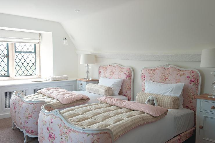 Shabby Chic Girls 39 Bedroom Features A Pair Of Pink French Twin Beds
