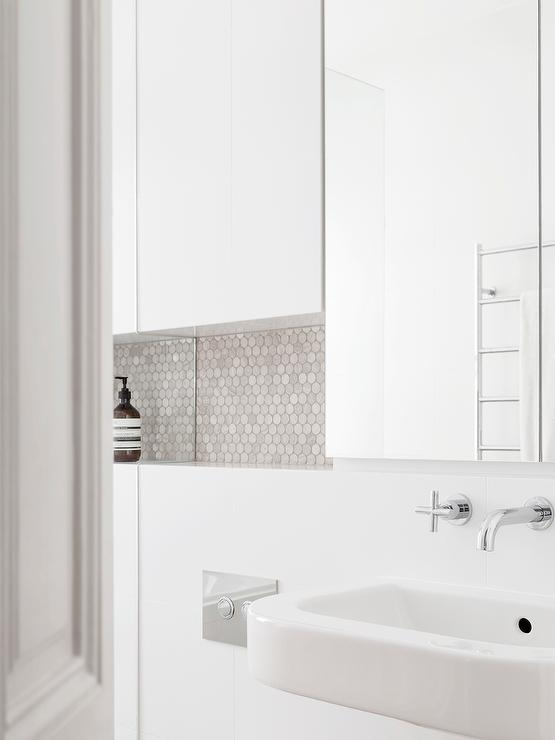 White Modern Bathroom With Gray Hex Tile Backsplash