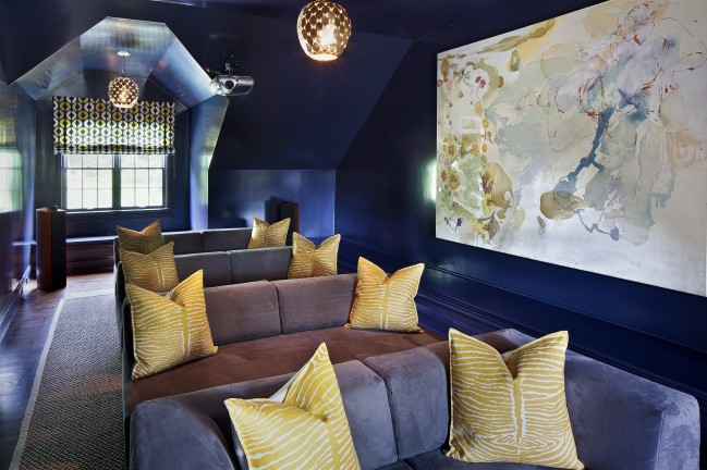 Superieur Blue Attic Movie Room With Gray Sofas And Yellow Zebra Pillows