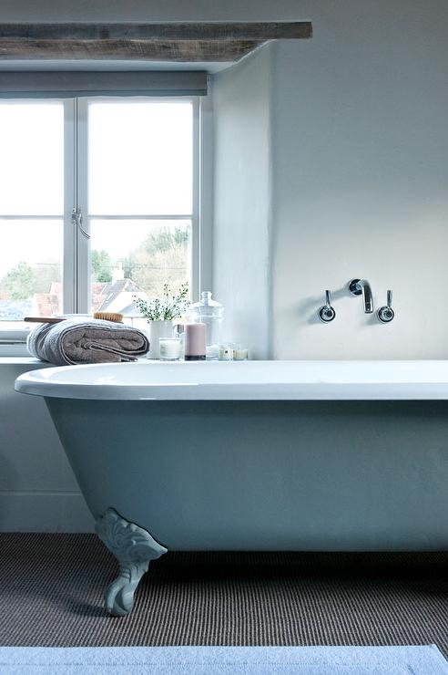 Blue Claw Foot Tub With Wall Mount Tub Filler Cottage Bathroom