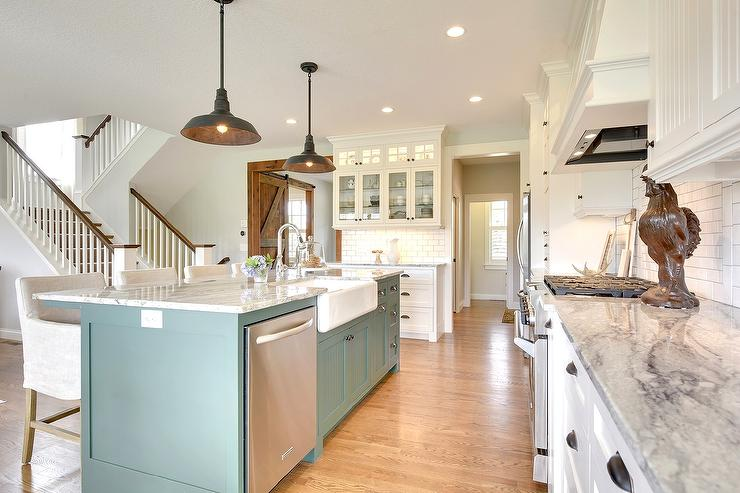 Kitchen Island Green green blue kitchen island with gray and white granite countertops