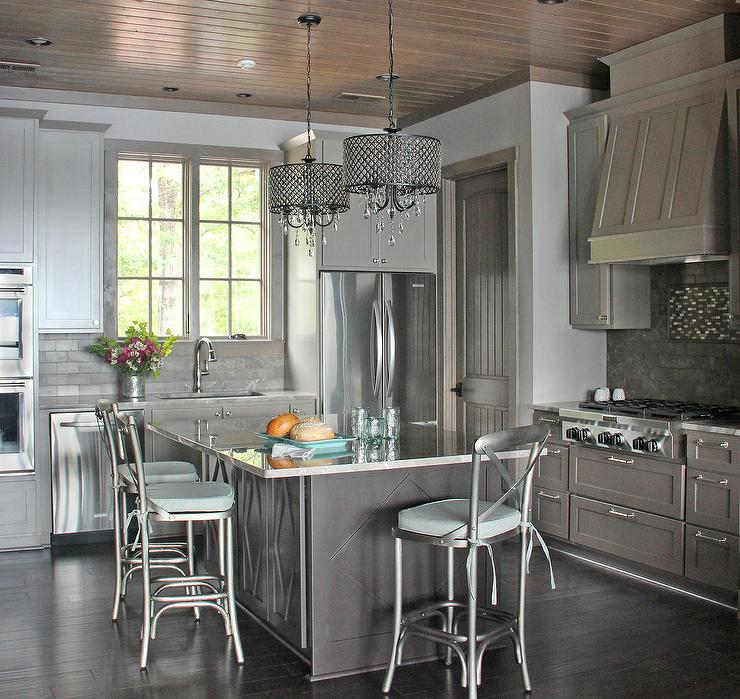 Contemporary Gray Kitchen With Metal X Back Counter Stools