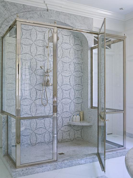 Marble Walk In Shower with Corner Shower Bench - Transitional ...