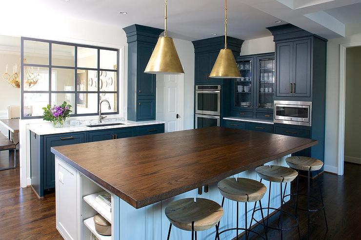 Butcher Block Kitchen Island With Brass Pendants And Round