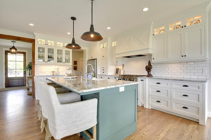 White Beadboard Kitchen Cabinets With Oil Rubbed Bronze