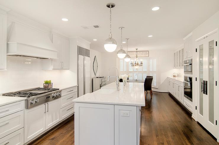 Long Kitchen Island With Hudson Valley Lighting Lambert
