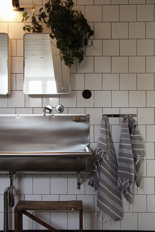 Kids Bathroom With Stainless Steel Trough Sink