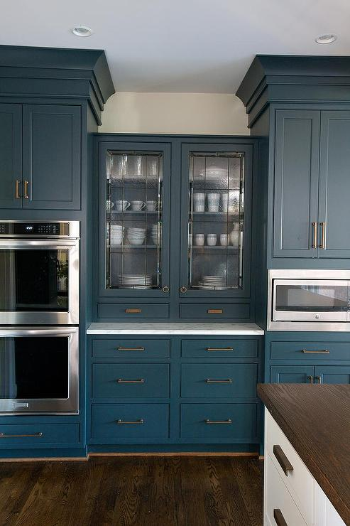 Leaded Glass For Kitchen Cabinets Part - 15: Blue China Cabinet With Leaded Glass Doors