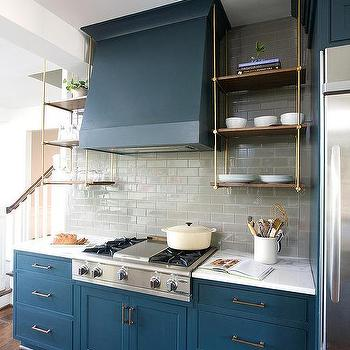 Ceiling Suspended Kitchen Shelves Design Ideas