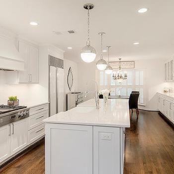 Long Kitchen Island With Hudson Valley Lighting Lambert Pendant