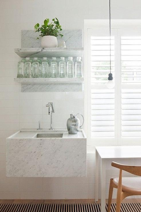 Floating Stone Sink : Marble Shelves Over Floating Marble Sink - Modern - Kitchen