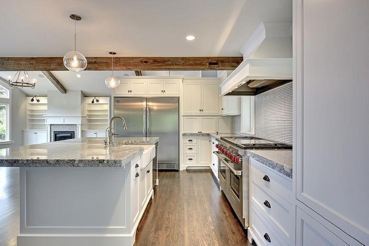 White Hex Tile Kitchen Backsplash With Black Grout