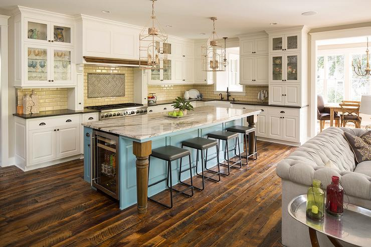 Turquoise Kitchen Island Black Granite