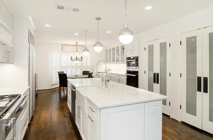 Wonderful View Full Size. Long White Kitchen Features Three Hudson Valley ...