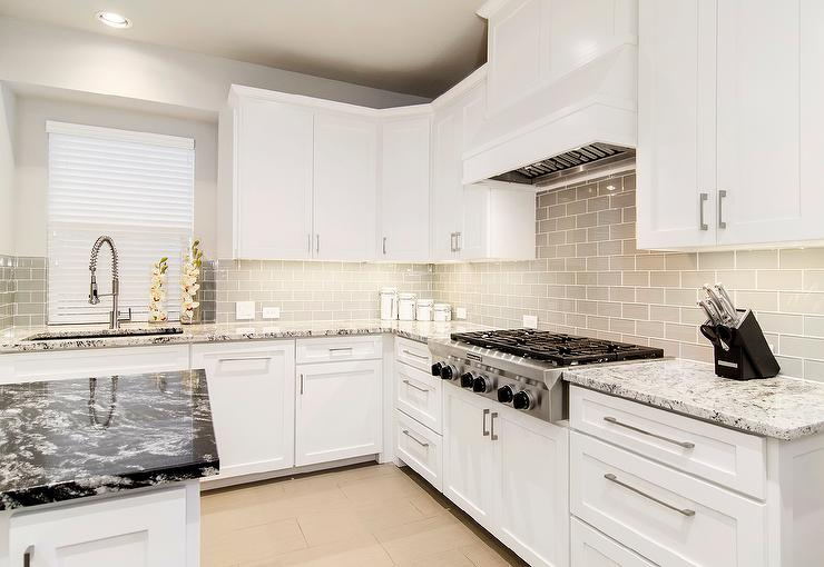 White Shaker Kitchen Cabinets With Gray Glass Tiles