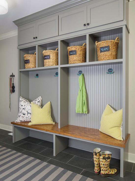 behr garage paint ideas - Gray Mudroom Lockers with Beadboard Trim Contemporary