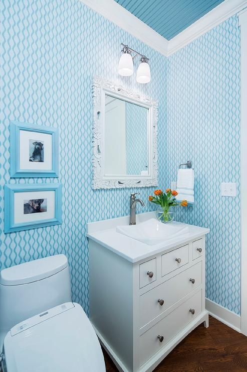 Blue Powder Room Ceiling With White Baroque Mirror