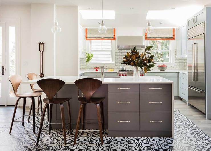 Dark Gray Kitchen Island With Black And White Mosaic Tiled