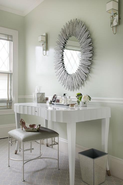 White Glam Vanity Table With Arteriors Prescott Oval Silver Leaf Large  Mirror