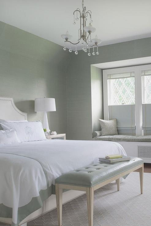 white and gray bedroom with window seat alcove 15445 | green gray bedroom leather tufted bench window seat alcove