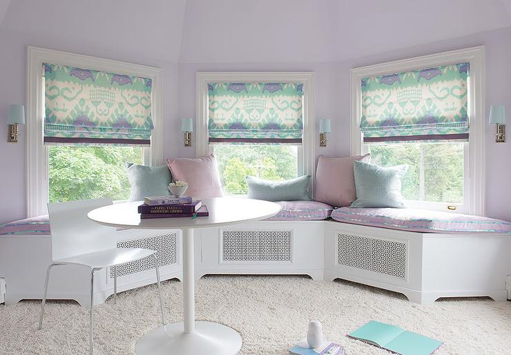 purple and turquoise bay window with window seat