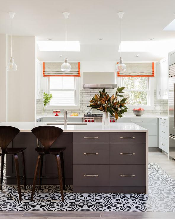 Dark Gray Center Island With Waterfall Quartz Countertop Contemporary Kitchen