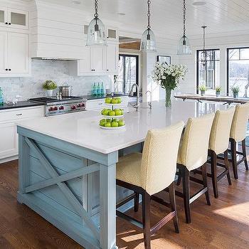 White shiplap kitchen hood with silestone lagoon for Blue yellow kitchen