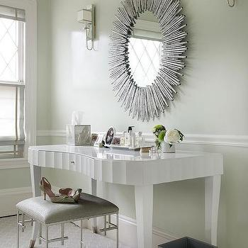 White Glam Vanity Table With Arteriors Prescott Oval Silver Leaf Large  Mirror Part 97