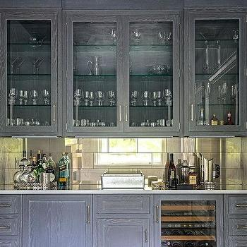 Awesome Gray Wire Brushed Oak Bar Cabinets With Mirrored Tile Backsplash