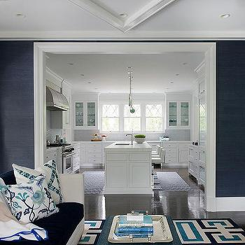 Blue Living Room With Navy Grasscloth