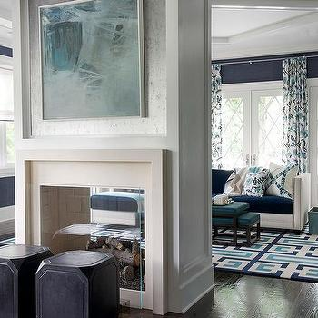 see through double sided fireplace with picture lights - Two Sided Fireplace
