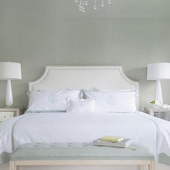 Gray Bedroom With Mirrored Nightstands Transitional