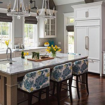 Yellow And Blue Counter Stools With Gray Stain Wire Brushed Island
