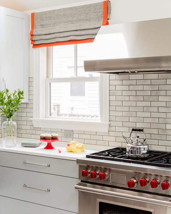White Kitchen With Orange Accents Design Ideas