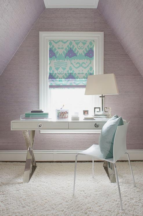 Purple And Turquoise Blue Office With Ikat Roman Shade