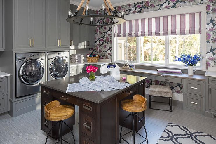Purple And Gray Laundry Room With Center Island Contemporary
