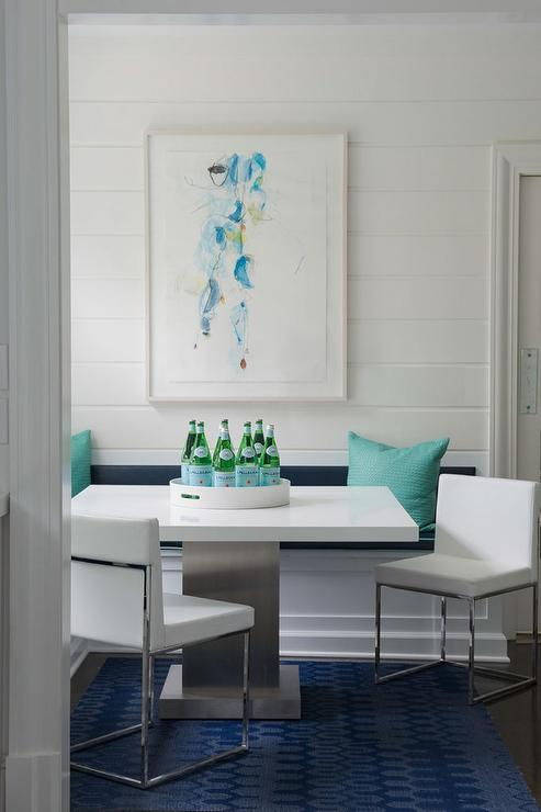 Turquoise and navy dining nook with built in banquette contemporary dining room - Built in banquette dining sets ...