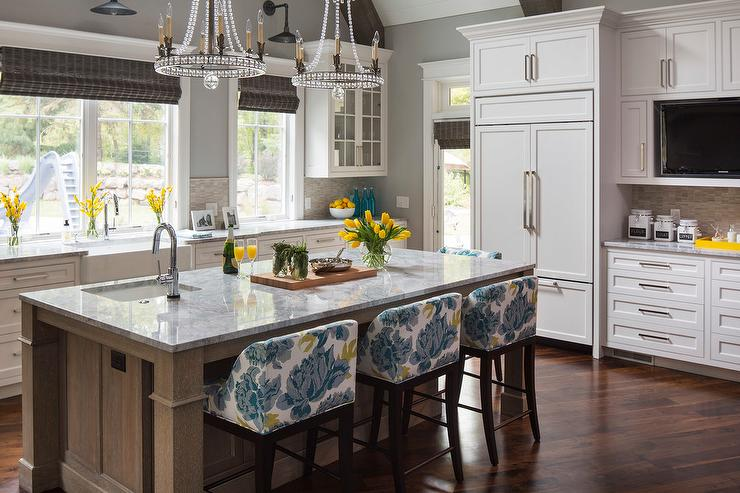 white ice granite countertops for a fantastic kitchen decor.htm yellow and blue counter stools with gray stain wire brushed island  gray stain wire brushed