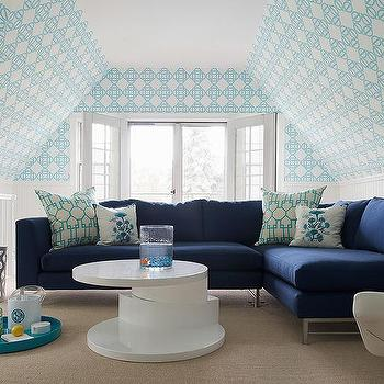 Navy Blue Sectional With Turquoise Geometric Pillows