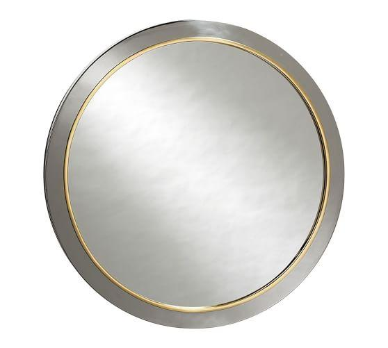 Evelyn Polished Silver And Gold Round Wall Mirror