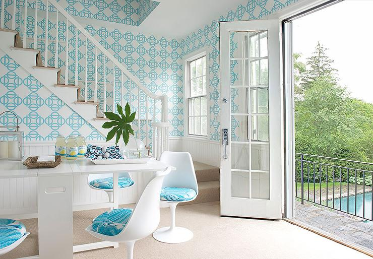 Turquoise Blue Dining Room Features Upper Walls Clad In Geometric Wallpaper And Lower White Beadboard Trim Alongside A Modern