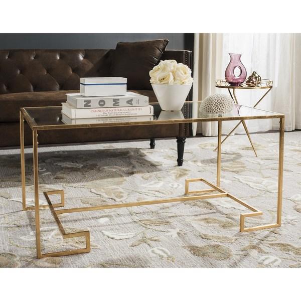 Safavieh Burton Antique Gold Leaf Coffee Table